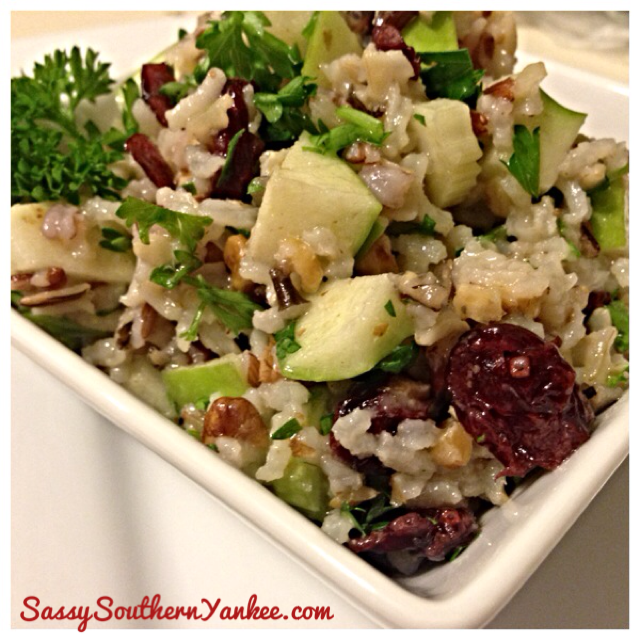 Apple Walnut Rice Salad with Cranberries