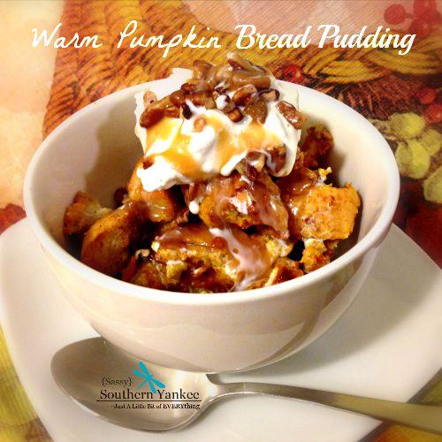 Warm Pumpkin Bread Pudding