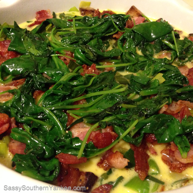 Bacon, Leek, Spinach and Swiss Quiche - Sassy Southern Yankee