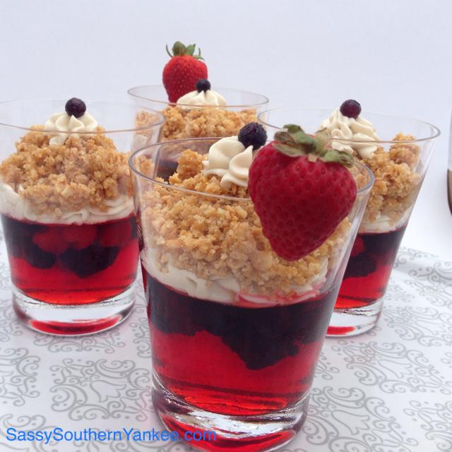 Red, White, and Berry Pretzel Jello Cups