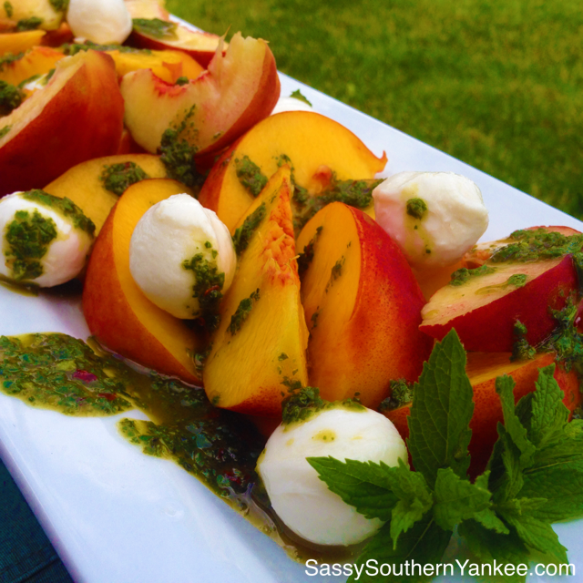 Peach and Mozzarella salad with Basil Mint Pesto from Sassy Southern Yankee