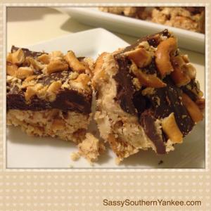No-Bake Peanut Butter Pretzel Bars from Sassy Southern Yankee