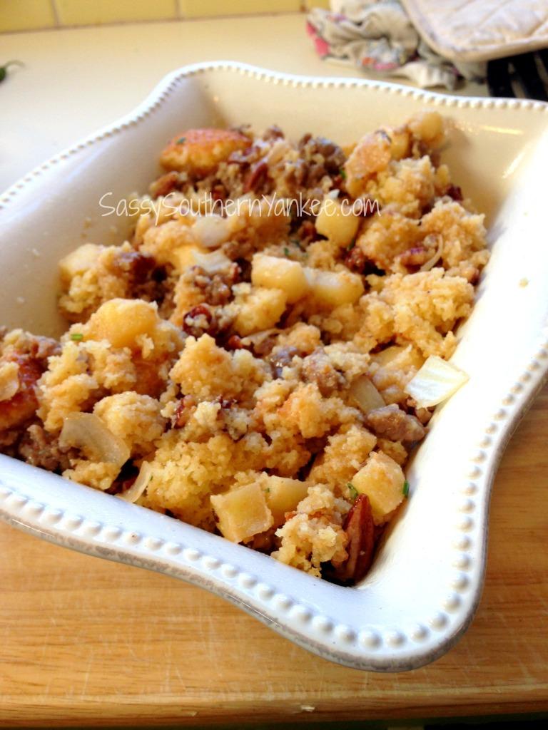 Apple Pecan Maple Sausage Cornbread Stuffing
