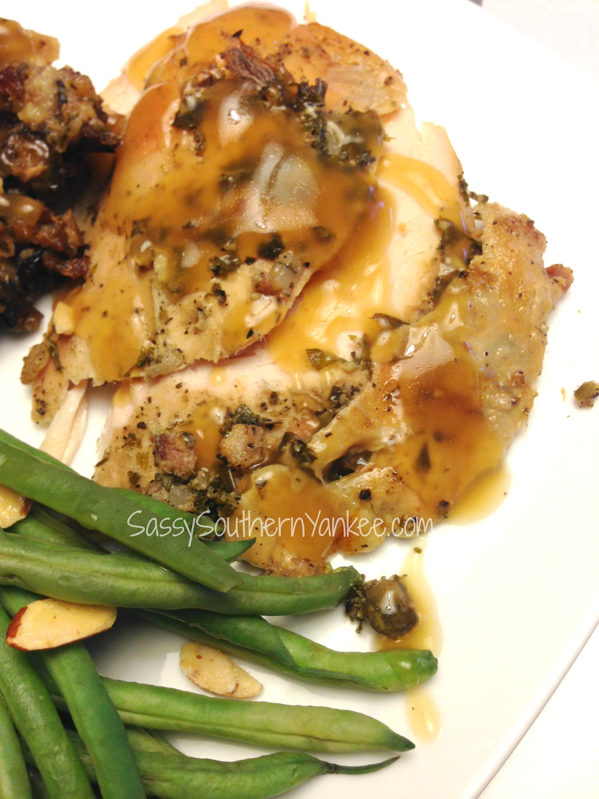 Maple-Roasted Turkey with Sage, Smoked Bacon, and Cornbread Stuffing ...