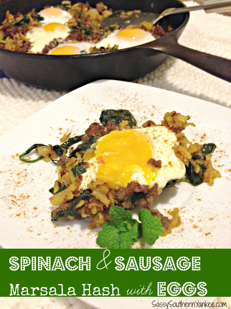 Spinach &  Sausage Marsala Hash with Eggs 4