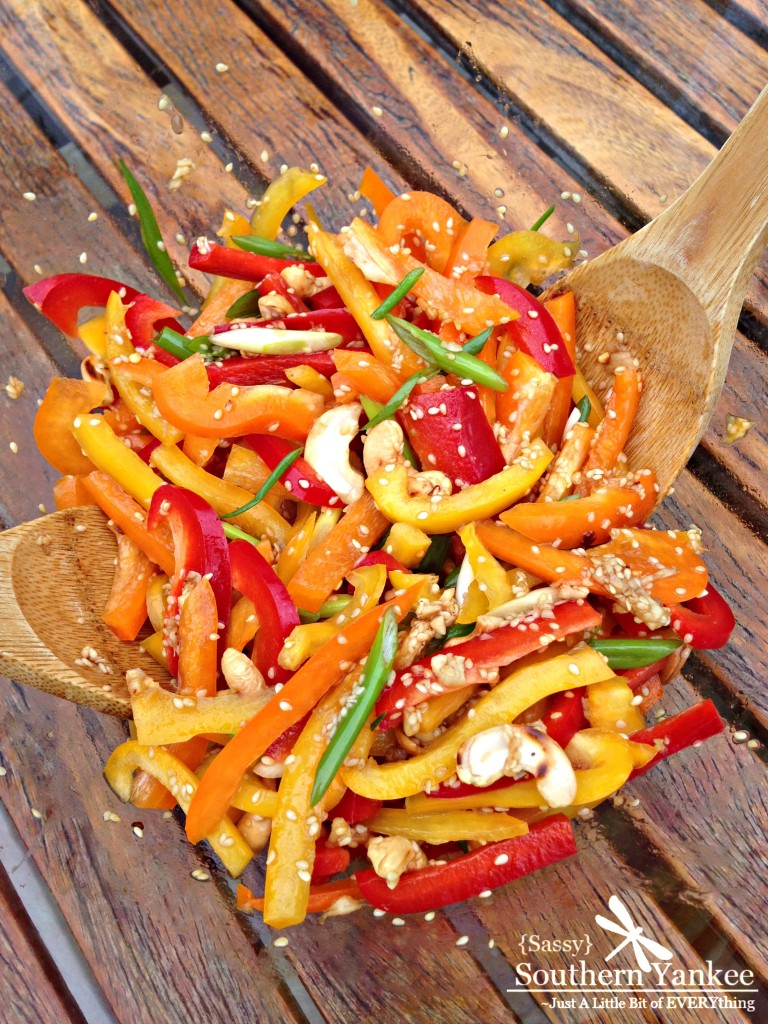 Multi Colored Pepper Salad with Sesame Ginger Dressing 3