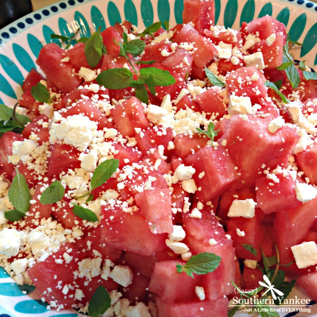 Watermelon Feta Salad with Mint - Sassy Southern Yankee