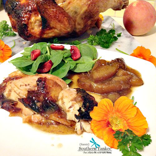 "Darn Good Ginger ""Beer Can"" Chicken with Roasted Peaches"