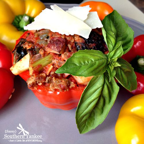 Stuffed Peppers with Kale and Sausage Sassy Southern Yankee