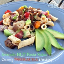 Avocado BLT Pasta Salad with Creamy Sriracha Dressing