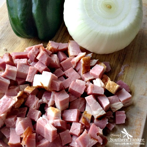 Ham, Onion and Green Pepper